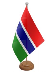 Gambia Desk / Table Flag with wooden stand and base